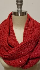 Infinity Scarf Red with Gold Sequins